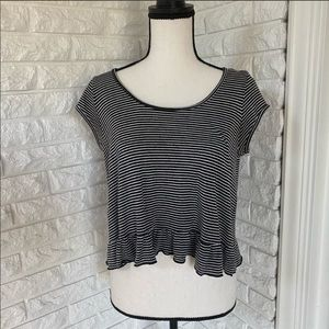 Striped Top with Ruffle Bottom
